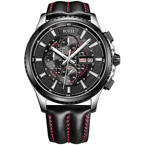 BUREI Mens Chronograph Quartz Watches