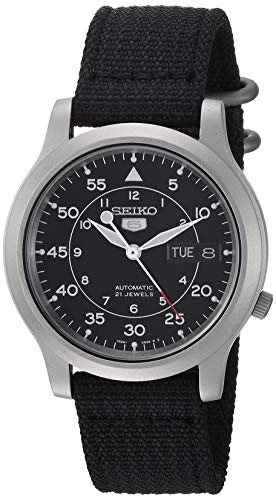 Seiko Men's Seiko 5 Automatic Stainless Steel Watch with Black Canvas Strap