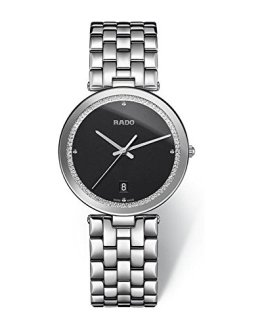 Rado Women's Florence Steel Bracelet & Case Sapphire Crystal Quartz Black Watch