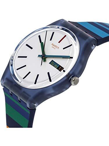 Swatch Color Crossing Blue Silicone Swiss Quartz Fashion Watch