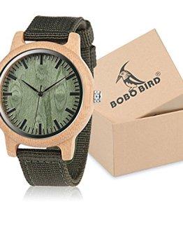 BOBO BIRD Unisex Bamboo Wooden Watch for Men and Women Analog Quartz