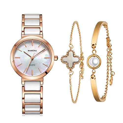 MAMONA Women's Watch and Bracelet Gift Set Rose Gold