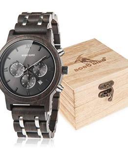 BOBO BIRD Mens Wooden Watches Luxury Wood Metal Strap Chronograph