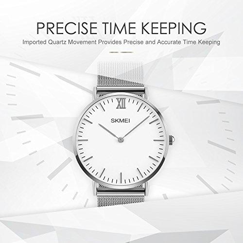 Mens Quartz Watch, Aposon Business Analog Wrist Watch Luxury Stainless Mens Quartz Watch, Aposon Business Analog Wrist Watch Luxury Stainless Steel Band Cool Waterproof Dress Watches- Silver