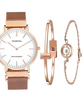 MAMONA Women's Rose Gold Quartz Watch Gift Set Waterproof