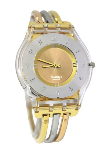 Swatch Women's Quartz Stainless Steel Gray And Pink Dial Watch