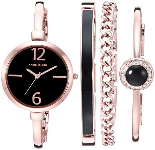 Anne Klein Women's Rose Gold-Tone Bangle Watch and Bracelet Set