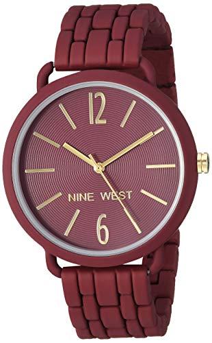 Nine West Women's Burgundy Rubberized Bracelet Watch