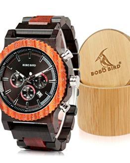 BOBO BIRD Mens Luxury Wooden Wrist Watches Large Size Date
