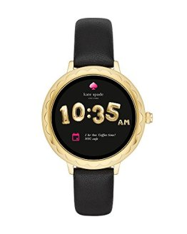 Kate Spade New York Scallop Touchscreen Smartwatch, Gold-tone Stainless Steel, Black Leather Band, 42mm, KST2001
