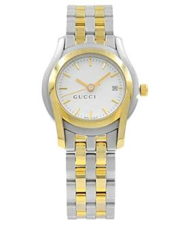 Gucci White Sticks Dial Two Tone Steel Quartz Ladies Watch