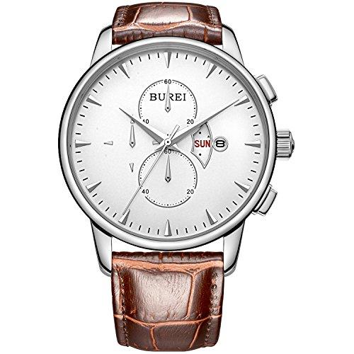 BUREI Men's Chronograph Wirst Watches Stainless Steel Multifunction
