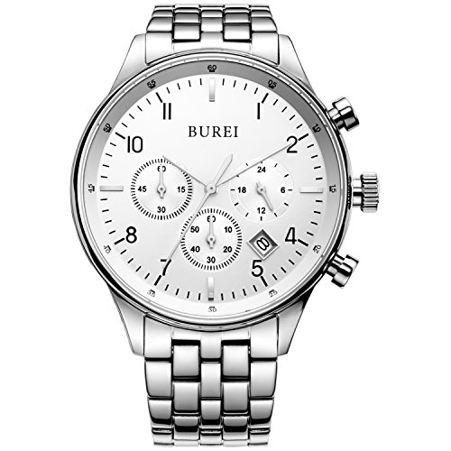 BUREI Men's Multifunction Chronograph Wrist Watch Stainless Steel Bracelet Sapphire Lens Fathe's Day Gifts (Silver)