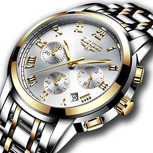 Watches Mens Full Steel Quartz Analog Wrist Watch Men