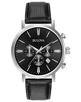 Bulova Men's Quartz Stainless Steel and Leather Casual Watch