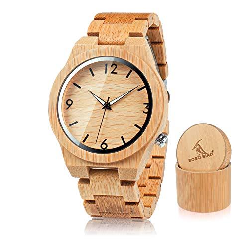 BOBO BIRD Men's Bamboo Wooden Watch Numeral Scale Large Face Quartz