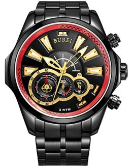 BUREI Men's Luminous Hands Chronograph Analog Watch