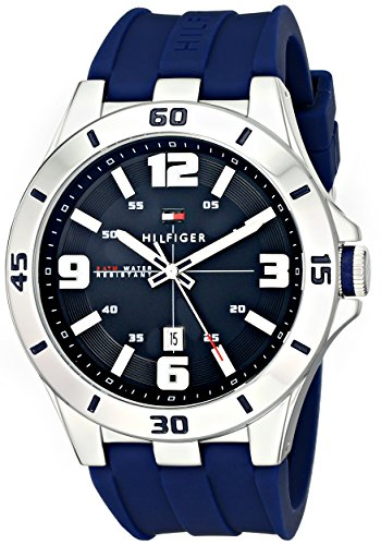 Tommy Hilfiger Men's Stainless Steel Watch with Blue Silicone Band