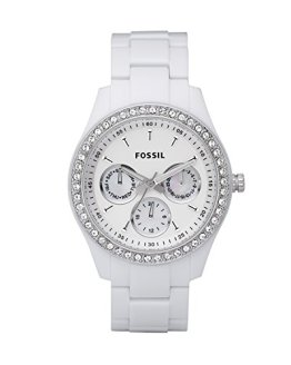 Fossil Women's Stella Quartz Resin Dress Watch, White