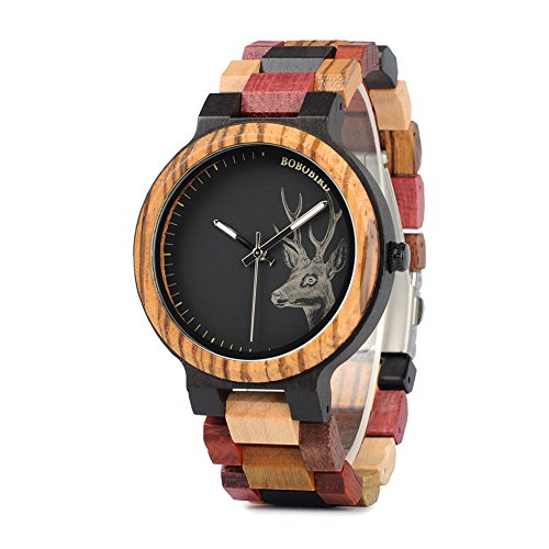 BOBO BIRD Mens Colorful Wooden Watches Classic Leisure Quartz Wristwatches