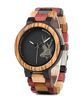 BOBO BIRD Mens Colorful Wooden Watches Classic Leisure Quartz Wristwatches