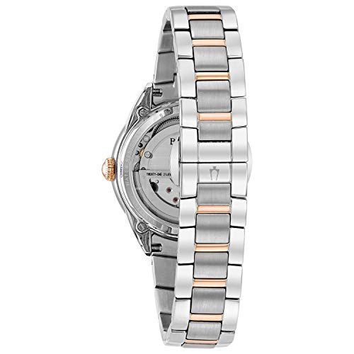 Bulova Women's Automatic Stainless Steel Casual Watch From Bulova, this remarkable programmed watch includes a skeleton sub-dial that offers a look into the timepiece's internal functions. The 34mm rose gold-tone tempered steel case brags a white mother pearl dial includes a kaleidoscope overlay with rose gold-tone Roman numeral, stick, and precious stone files. This mechanical watch is self-winding and is charged by your development, so there will never be a requirement for a battery. Finishing this look is a two-tone rose-gold tone and treated steel armlet with twofold press deployant closure.