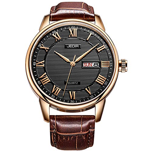 BUREI Men's Classic Quartz Wristwatch with Day Date Calendar