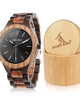 BOBO BIRD Men's Retro Zebra Wooden Watch, Large Size Quartz Watch