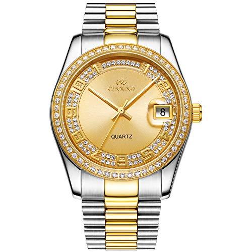 BUREI Unisex Classic Analog Quartz Wrist Watch Gold Dial