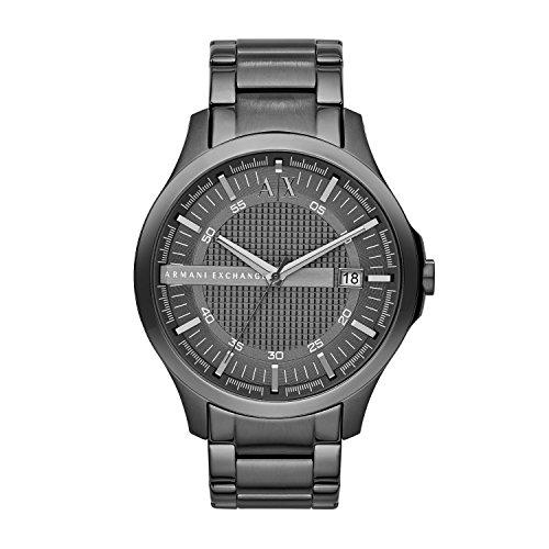Armani Exchange Hampton Grey Textured Dial Gunmetal Ion-plated Mens Watch