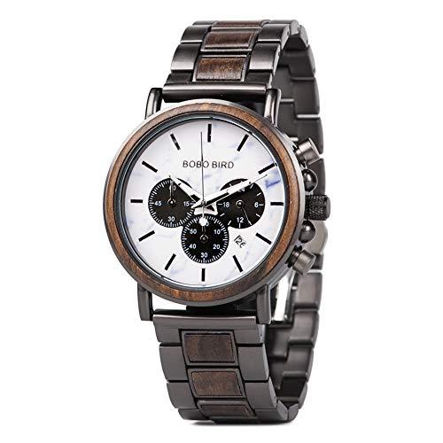 BOBO BIRD Mens Wooden Watches Business Casual Wristwatches Stylish Ebony