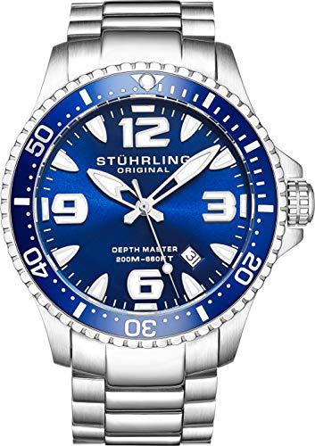 Stuhrling Original Mens Swiss Quartz Stainless Steel Professional Sport Dive Watch