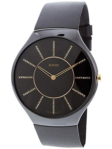 Rado Men's True R27741709 Black Rubber Swiss Quartz Dress Watch