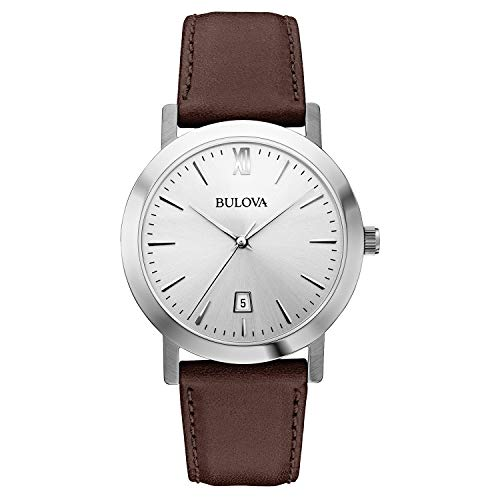 Bulova Unisex Stainless Steel Watch with Brown Leather Band