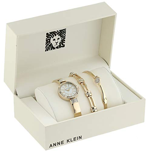 Anne Klein Women's Swarovski Crystal Accented Watch Anne Klein Women's AK/3294GBST Swarovski Crystal Accented Gold-Tone Bangle Watch and Bracelet Set