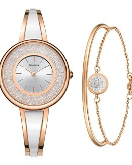 MAMONA Women's Rose Gold-Tone Bangle Watch