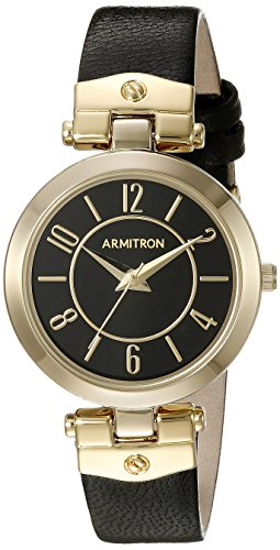 Armitron Women's Gold-Tone and Black Leather Strap Watch