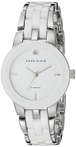 Anne Klein Women's Diamond Dial Silver-Tone and White Ceramic Bracelet Watch