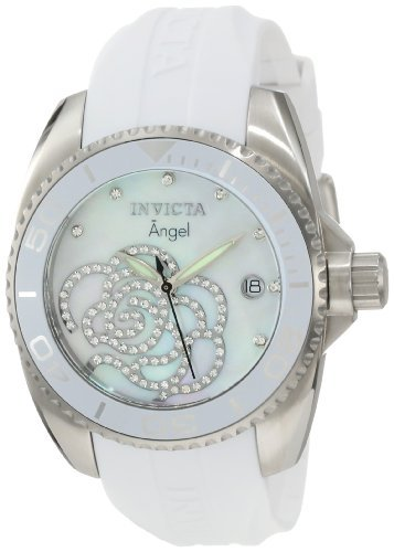 """Invicta Women's """"Angel Collection"""" Stainless Steel Cubic Zirconia-Accented Watch"""