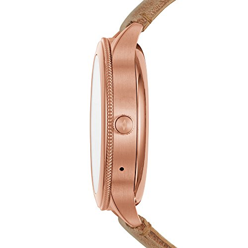 Fossil Q Women's Gen 3 Venture Stainless Steel Touchscreen Watch  Smartphone warnings, touchscreen usefulness, action following, custom objective & caution settings, adaptable watch faces & watch groups, music controls & smaller scale applications, amplifier & speaker controls, extra outsider applications accessible through Google Play Store on your watch    Estimated 24 hour battery life, in light of utilization; charger included; water safe IP67: dust & sprinkle resistant Case estimate: 42mm; Band measure: 18mm; imported. Processor: Qualcomm Snapdragon Wear 2100 Rose gold-tone hardened steel case and tan calfskin band with clasp conclusion; tradable with all Fossil 18mm bands Powered with Wear OS by Google; perfect with Android OS 4.4+ (barring Go version) and iOS 9.3+ cell phones; Bluetooth 4.1 Low Energy and Wi-Fi 802.11 b/g/n; bolstered highlights may fluctuate among stages and countries   A smartwatch that (really) looks like it. With another full-round advanced showcase, our Q Venture offers various highlights like adjustable countenances, circumspect notices and programmed movement following to help make your life easier—and more a la mode. Smartwatches worked with Wear OS by Google are good with iPhone and Android telephones. Wear OS by Google and other related imprints are trademarks of Google LLC. Touchscreen smartwatches worked with Wear OS by Google require a telephone running Android OS 4.4+ (barring Go version) or iOS 9.3+. Upheld highlights may fluctuate between stages. To stay away from harm to your watch, just use with included charger. Try not to utilize a USB center point, USB splitter, USB y-link, battery pack or other fringe gadget to charge. Wear OS by Google and other related imprints are trademarks of Google LLC. Touchscreen smartwatches worked with Wear OS by Google require a telephone running Android OS 4.4+ (barring Go release) or iOS 9.3+. Bolstered highlights may fluctuate between stages. iPhone clients can't react to messages or applic