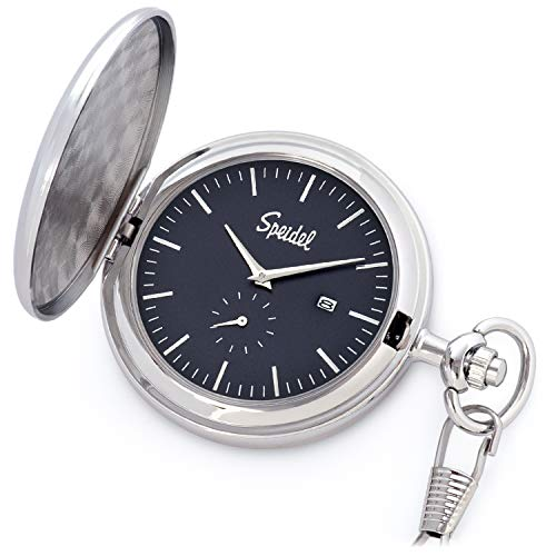 Speidel Classic Brushed Satin Silver-Tone Engravable Pocket Watch