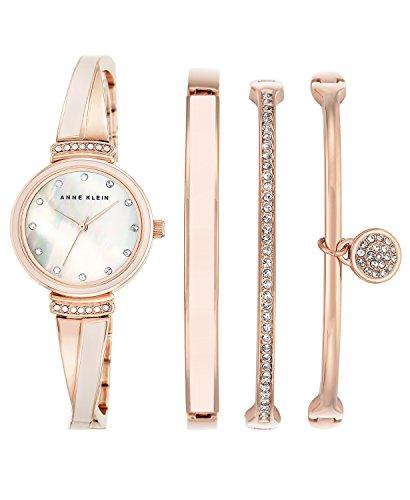 Anne Klein Women's Rose Gold-Tone Bangle Bracelet Watch 26mm Gift Set