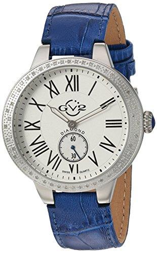 GV2 by Gevril Astor Womens Diamond Swiss Quartz Blue Leather Strap Watch