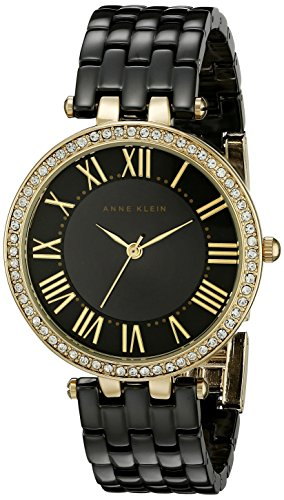 Anne Klein Women's Gold-Tone and Black Leather Watch and Bracelet Set