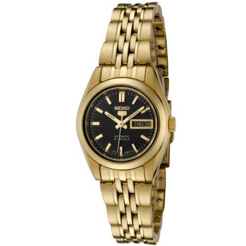 Seiko Women's Seiko Black Dial Gold-Tone Stainless Steel Watch