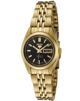 Seiko Women's Seiko Black Dial Gold-Tone Stainless Steel Watch