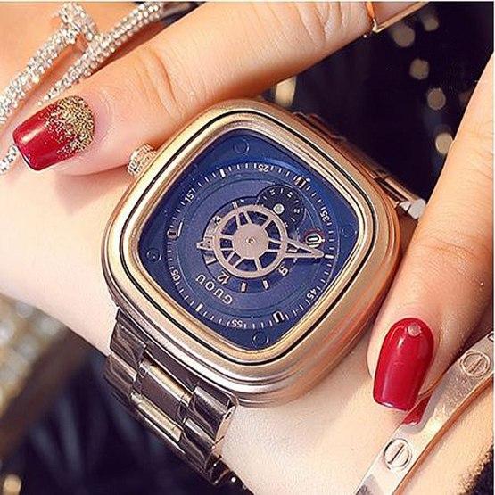 GUOU Women's Wrist Watch Women Waterproof Rose Gold Stainless Steel