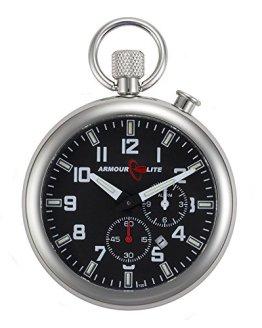 Black Dial Alarm Clock Tritium Pocket Watch by Armourlite
