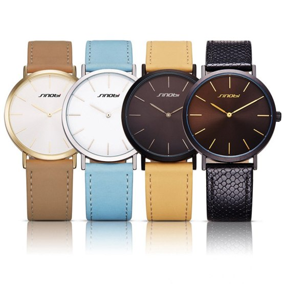 SINOBI New Fashion Womens Wrist Watches Leather Watchband