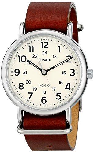 Timex Unisex Weekender 40 Brown Leather Slip-Thru Strap Watch